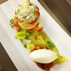 Goat Cheese Souffle, Butter Poached Blue Crab, Pickled Vegetables, Avocado Purée, Grilled Orange Compote & Greek Frozen Yogurt