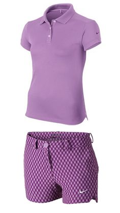 Violet Shock/Bold Berry Nike Junior Girls Golf Outfit (Shirt & Short) at #lorisgolfshoppe