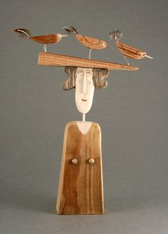 Bird Hat - Bored Walk by Lynn Muir love the whimsical,funny wood and mixed media sculpture and automata in contemporary folk style of lynn muir and her us of found objects and materials she creates pieces with such expression and positivity