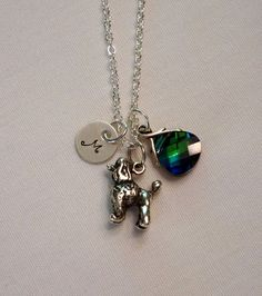 Poodle Necklace - Choice Of Dog Personalized Gift Jewelry Swarovski Pendant - Sterling Silver Charm