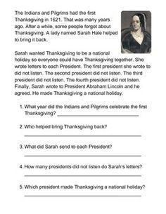 Sarah Hale saves Thanksgiving one sheeter. Kids read the passage and answer questions below.