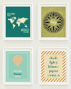 Nursery Prints: Around The World - Travel Nursery - Alphabet - Hot Air Balloon - Compass. $12.00, via Etsy.