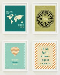 Nursery Prints: Around The World - Travel Nursery - Alphabet - Hot Air Balloon - Compass - Not All Who Wander Are Lost. $12.00, via Etsy.