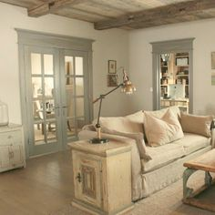 Ethereal European Country Design Style Cottage With Rustic Wood Ceilings - Hello Lovely Rustic French farmhouse European country cottage with pale blues and green interiors - Decor de Provence. Rustic French Country, French Farmhouse Decor, Farmhouse Interior, French Country House, French Country Decorating, Rustic Style, Rustic Elegance, Interior Design Inspiration, Cottage Style