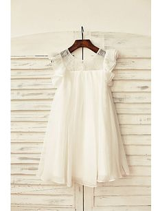 Sheath / Column Knee Length Flower Girl Dress - Chiffon Lace Short Sleeves Scoop Neck with Buttons Flower(s) Sash / Ribbon by LAN TING 2017 - Flower Girls, Flower Girl Dresses Country, Princess Flower Girl Dresses, Cheap Flower Girl Dresses, Wedding Flower Girl Dresses, Little Girl Dresses, Long Dresses, Chiffon Flowers, Chiffon Ruffle