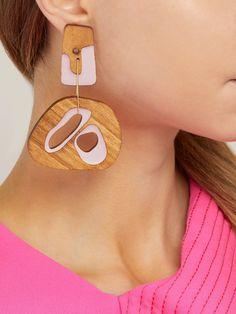 a6e3ea919b3d Roksanda - Mismatched sculptural wood drop earrings Wood Earrings