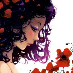 Beautiful work by Ludovic Jacqz - Check these out. Les fleurs rouges... Stretched Canvas