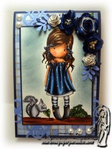 Copic card and deep blue coloring tutorial using the Gorjuss - You Brought Me Love stamp set. Made by Marlena