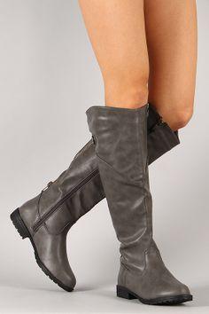 288249f3430 Bamboo Tamara-62 Buckle Zipper Knee High Wedge Boot | My Style ...