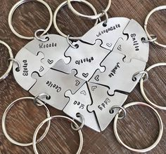 Hand engraved Argentium Silver heart #puzzle #keychains, #friendship, #family, #BFF, #nine puzzles, jigsaw, #9 pieces, #wedding, graduation by InspiredByBronx on Etsy https://www.etsy.com/listing/524469415/hand-engraved-argentium-silver-heart