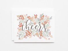Congratulations Card Set | Hand Illustrated Floral Cheers Card Set of 8 with Hand Lettered Calligraphy
