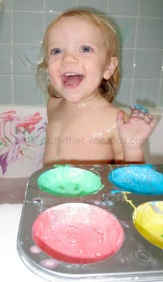 Easy to make baby bath paint- this two ingredient recipe is made using ingredients perfect for baby!