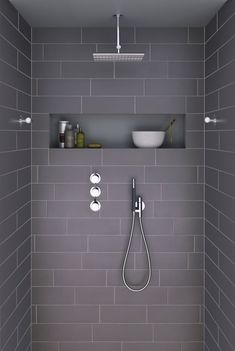 Badezimmer Bathroom with Italian shower natural and relaxing Grey Bathrooms, White Bathroom, Modern Bathroom, Small Bathroom, Master Bathroom, Bathroom Ideas, Relaxing Bathroom, White Shower, Bathroom Layout