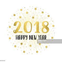 Clipart vectoriel : Bonne année 2018 avec feux d'artifice or