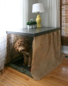 If you HATE the 'ugly' dog kennel in the room, this might be the most inexpensive way to dramatically transform it—and your dog will love it too!