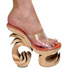 "7 1/2"" Karo's Exotic Clear Wood Curly Heel Platform Shoes - Sizes 4-14. #10020 