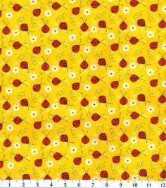 Novelty Cotton Fabric-Ladybug With Daisy , , hi-res