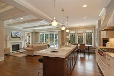 Photos of open concept living room and kitchen open concept design gorgeous the on the island seems to be color a traditional open concept kitchen living Small Living Rooms, Home, Open Kitchen And Living Room, Great Rooms, Kitchen Living, New Homes, Home Decor Kitchen, House, Small Rooms