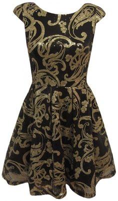 Baroque Sequin Swirl Cap Sleeve Black & Gold Skater Dress