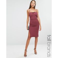 Missguided Tall Backless Strappy Midi Dress (£29) ❤ liked on Polyvore featuring dresses, red, strap dress, red midi dress, red bodycon dress, backless bodycon dress and strappy bodycon dress
