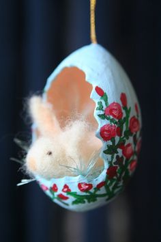 Bunny and hand-painted egg.