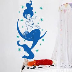 Mermaid Wall Decal GIrls Mermaid Decal Mermaid Nursery Decal Mermaid Wall  Sticker Starfish Decal Little Mermaid