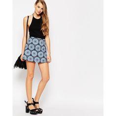 Motel Aline Mini Skirt in Mandala Print ($31) ❤ liked on Polyvore featuring skirts, mini skirts, multi, zipper mini skirt, pink mini skirt, a-line skirt, short mini skirts and short a line skirt