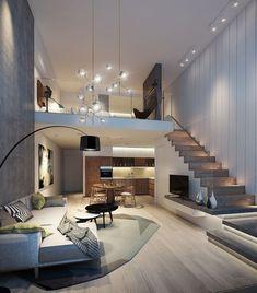 Loft House Design, Tiny House Loft, Small House Interior Design, Modern Exterior House Designs, Home Stairs Design, Dream House Interior, Loft Home, Modern Home Interior, Modern Stairs Design