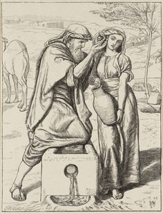 William Holman Hunt 'Eliezer and Rebekah at the Well, engraved by the Dalziel Brothers', 1863