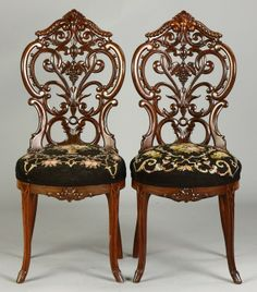 Meeks Side Chairs - Sold For 1,400 19th cent. Pierce carved back. Ht ...