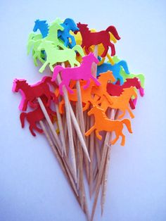 24 Bright Horse Party Picks  Cupcake Toppers by ThePrettyPaperShop, $3.99