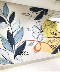 Wall Painting Decor, Mural Wall Art, Wall Decor, Wall Drawing, Home Room Design, Floral Wall, Paint Designs, Decoration, Wall Design