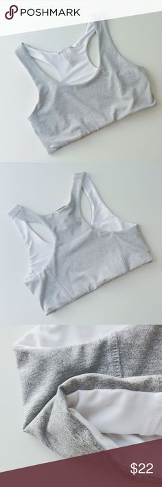 """NWT sports bra light grey/white NWT sport bra. Light grey with white lining. 88%poly, 12%spandex. Fabric is smooth touch. Size S, chest 14"""", length 12.25"""". 🚫no trade Tops Tank Tops"""