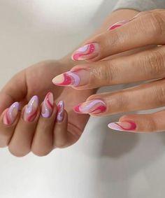 Summer Acrylic Nails, Best Acrylic Nails, Acrylic Nail Designs, Summer Nails, Spring Nails, Gel Manicure Designs, Acrylic Toes, Almond Nails Designs, Simple Acrylic Nails