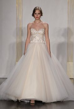 Brides: Lazaro - Fall 2012. Strapless blush organza ball gown wedding dress with a beaded bodice and sweetheart neckline, Lazaro