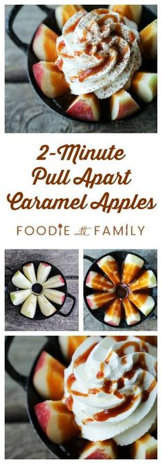 2 Minute Pull Apart Caramel Apples inspired by a visit to a real Christmas Tree Farm: Stokoe Farms in Scottsville, NY. So easy and so delicious! Fun Easy Recipes, Fall Recipes, Snack Recipes, Cooking Recipes, Snacks, Real Christmas Tree, Good Food, Yummy Food, Pull Apart