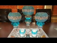centerpiece ideas: DIY glamorous candleholder centerpiece Another idea. Bling Centerpiece, Wine Glass Centerpieces, Dollar Tree Centerpieces, Chandelier Centerpiece, Dollar Tree Decor, Dollar Tree Crafts, Diy Centerpieces, Centerpiece Wedding, Wedding Decorations