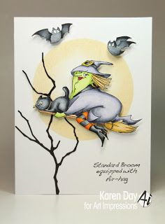 Art Impressions new Halloween release...Air-Hag Set (sku#4309)  Fantastic witch and bat card!