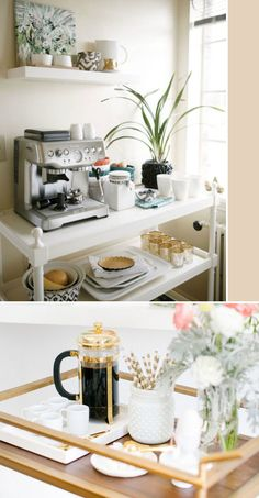 At-home coffee cart - such a cute idea.