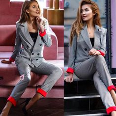 Special Offer for Chic costume Autumn Double Breasted Office Ladies Plaid Blazer suits sets Fashion Women Cuff roll long pants blazers sets . Plaid Suit, Plaid Jacket, Plaid Blazer, Blazer Suit, Blazer Jacket, Striped Jumpsuit, Striped Blazer, Blazers For Women, Pants For Women