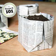 How to fold newspaper into biodegradable planters.Nx
