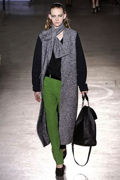 Philip Lim. Love the green slacks combined with black and gray.