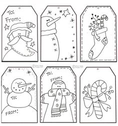 printable holiday gift tags. (I print, color, paste onto cardstock, then cut them apart, then laminate and hole-punch... then I slip a tag onto each of my fabric gift bags. Just use wet-erase/vis-a-vis pens to write on them, and they easily wipe off to use next time!)