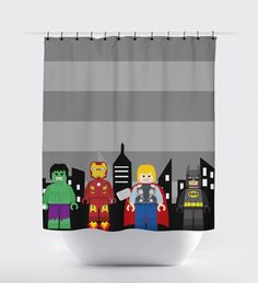 Bestseller Superhero Shower Curtain. - In Stock Now.