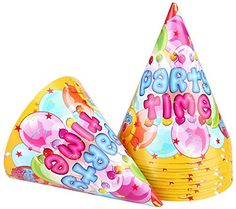 12pcs Small Paper Kids Funny Hats Cone Birthday Caps of Birthday Party Favor Supplies  Decorations happy birthday * Want additional info? Click on the image.