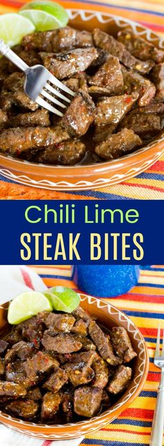 Chili Lime Steak Bites - with only a few ingredients and 15 minutes, you can make this easy dinner recipe or party appetizer that packs tons of flavor. #beef #steakbites #glutenfree via @cupcakekalechip