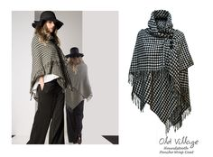 #AW2015 #AutumnWinter2015 #Trend : Must have #Houndstooth #Poncho #Cape  #WrapCoat at #OldVillageBrighton ... Looks a great substitute for a jacket/coat or over it, wear with jeans and ankle boots for those chilly days to come. - SHOP NOW - http://www.oldvillage.com/Jackets