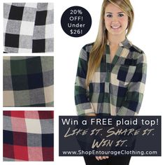 Day 10 of our '12 Days of Christmas' Giveaways is here!! Win a NEW Plaid Top- in stock now!!  Like this photo, share this photo, and comment with your favorite color & size! The more you interact, the better your chances of winning! Follow us on Facebook, Instagram, Twitter, and Pinterest.   In stock online now, PLUS it's 20% OFF!!   www.shopentourage... www.shopentourage... www.shopentourage...