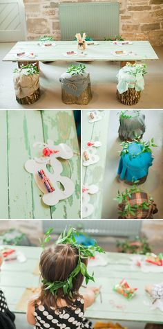 The darling kid's table! Beautiful Woodland Themed Baby Shower