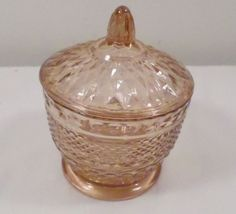 Vintage KIG Indonesia Peach Tinted Glass Covered Dish Bowl Candy Dish #unbranded